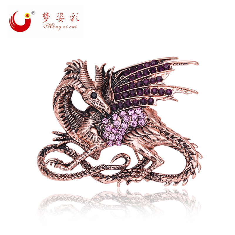 Retro Game of Thrones Dragon Purple Dragon Brooch Pin Antique Rose Gold Metal Rhinestone Broach Mujer Vintage Brochhes Large X1596