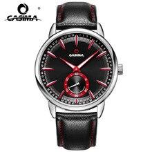 Marca de lujo de relojes de los hombres del deporte de los hombres del reloj de múltiples funciones del calendario luminoso reloj de cuarzo CASIMA correa de Cuero #8304