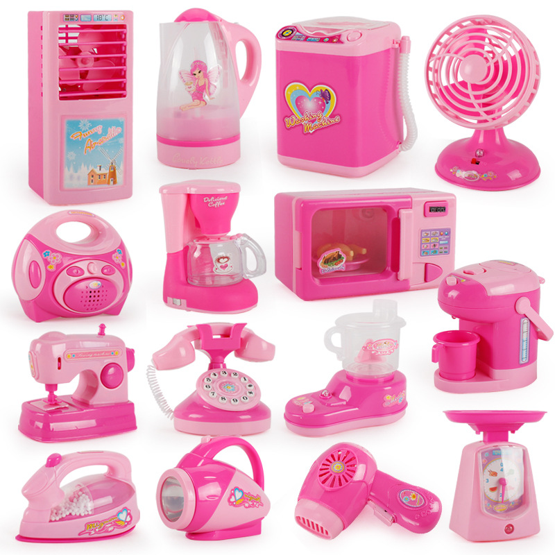 Children 39 s Mini Kitchen Set Girl Simulation Play Home Small Appliances Toys Refrigerator Washing Machine Furniture Supplies in Furniture Toys from Toys amp Hobbies