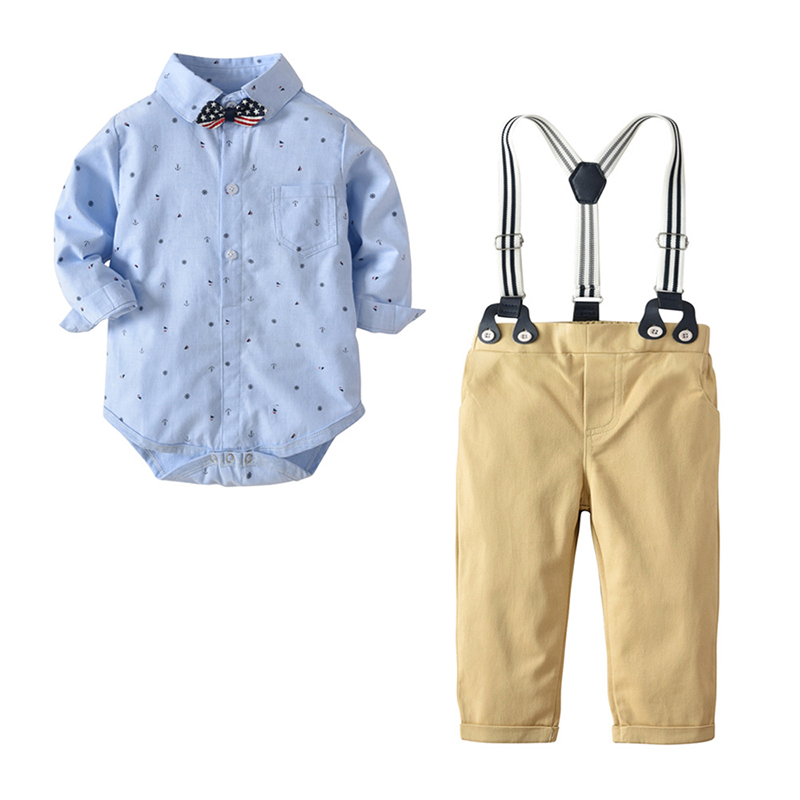 Newborn Boy Clothing Sets Cotton Gentleman 2018 Autumn Spring Fashion Shirt Rompers + pant kids boys Clothes ST2 2018 spring toddler baby boy formal clothing set cotton warm suit t shirt pant coat newborn boys fashion outerwear clothes sets