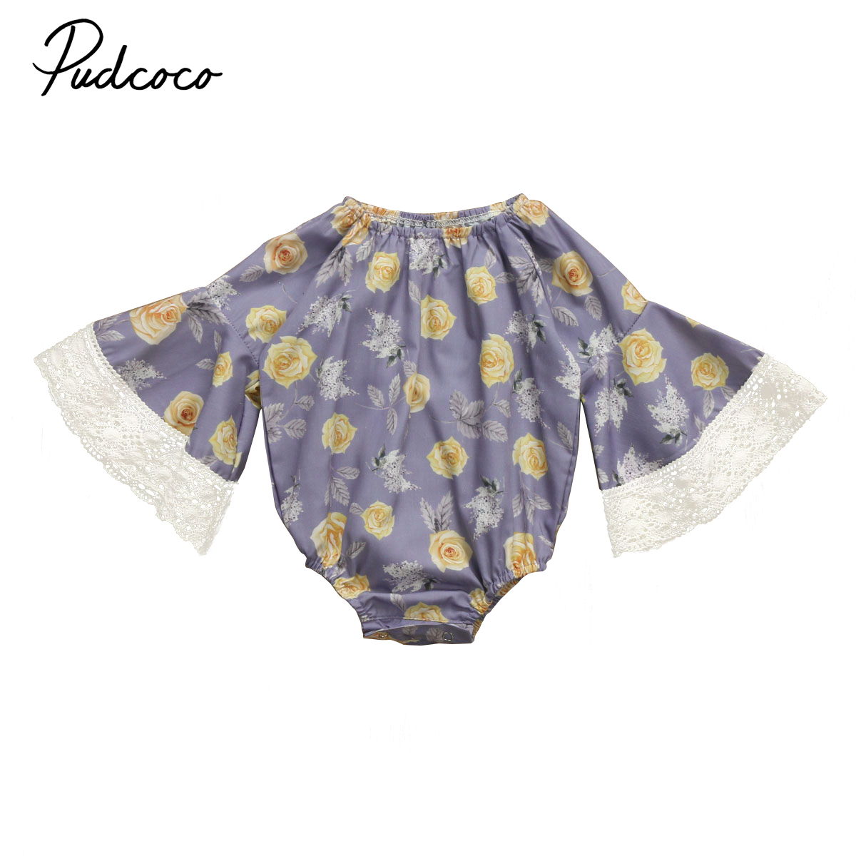 Pudcoco Newborn Kids Baby Girl Lace Flare Sleeve Floral Romper Jumpsuit Clothes Fall Winter Cotton One-Piece Outfit pudcoco newborn baby girl clothes 2017 summer sleeveless floral romper backless jumpsuit sunsuit children clothes