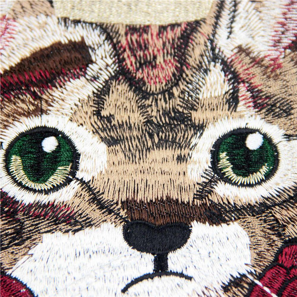 1 шт. симпатичного кота с короной термонаклейки или швейная ткань наклейка на значок вышитые аппликации DIY