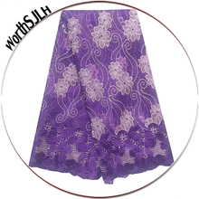 WorthSJLH Latest African Lace Fabric 2019 High Quality White Purple Swiss French For Wedding Dress