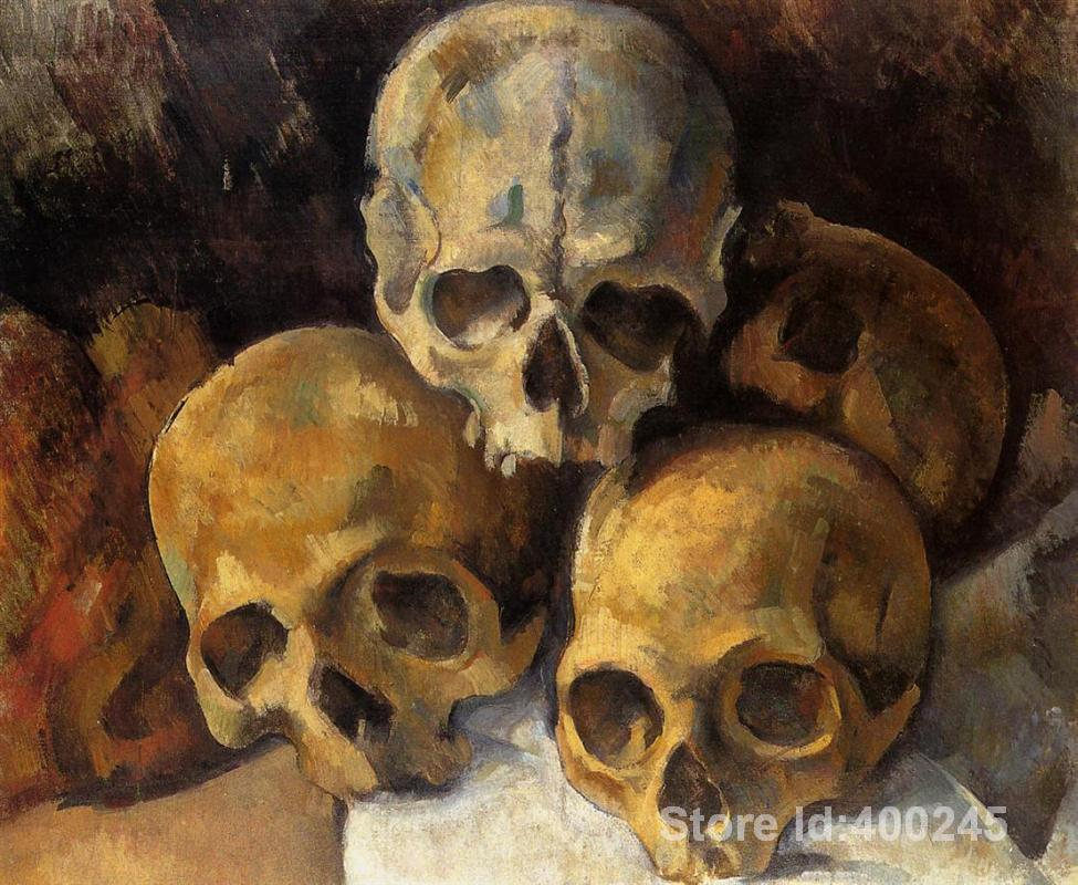 Impressionist art Pyramid of skulls Paul Cezanne paintings home decor Handmade High quality