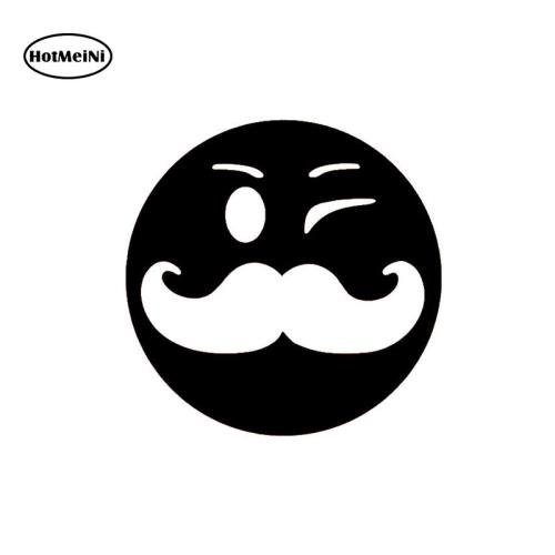HotMeiNi Smiley Face With Mustache Car Sticker For Truck Window Bumper Auto SUV Door Laptop Waterproof 15*15cm smiley