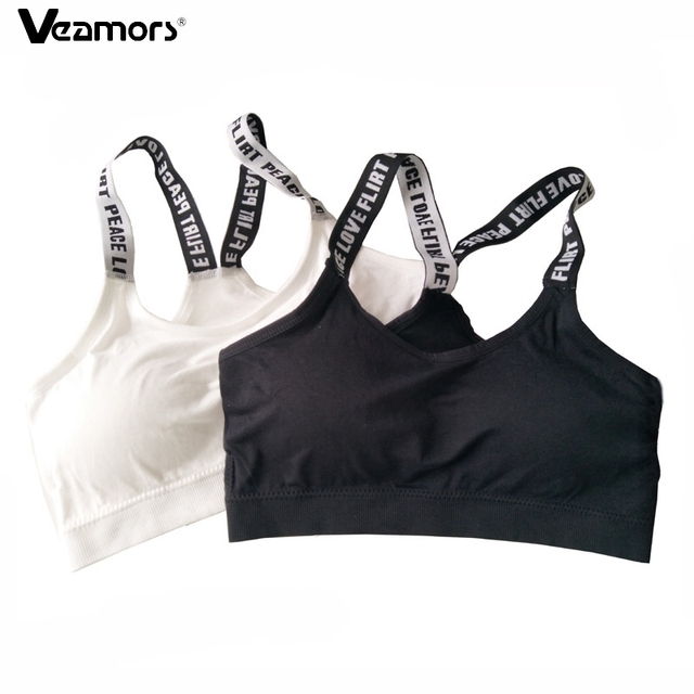 2017 Women Seamless Padded Sport Bra Letters Straps Absorb Sweat Fitness  Yoga Bras For Gym Workout