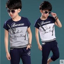 Enfants Ensembles D'été 2016 Nouveau De Mode Coton O-cou T-Shirt + Shorts Garçons Vêtements Set Enfants Garçon Costume de Sport Fit 5-10Y
