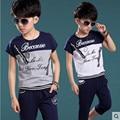 Summer Children Sets 2017 New Fashion Cotton O-Neck T-Shirt + Shorts Boys Clothing Set Kids Clothes Sport Suit Fit 5-10Y