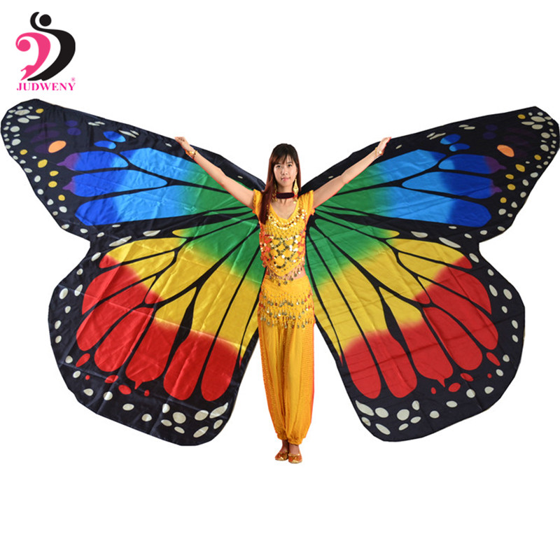 2019 360 Degree Rotating Butterfly Shawl Decorated Women Butterfly Print Chiffon Beach Scarves Baju Belly Dance Butterfly Wings