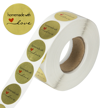 Round Gold homemade with love Stickers seal labels 500 Labels stickers scrapbooking for Package stationery handmade sticker