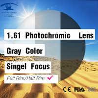 Lentes fotocromáticos índice 1,61, lentes de color gris, lente graduada para ojos, lentes de transición para miopía, lentes ópticas