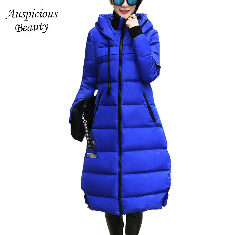 2017 Winter Long Overcoat Women Down Jacket With a Hood Female Coat Thick Down Jackets for Pregnant Women Plus Size L- 5XL SHZ38 2016 new mori girl national trend loose plus size with a hood denim autumn and winter women medium long plus cotton thick vest
