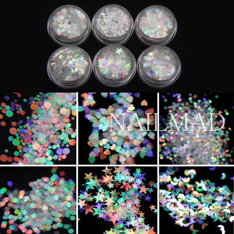 6 กระปุก AB เล็บ Glitters ผสมรูปร่าง Paillette เงือกเลื่อมโฮโลแกรมขัดสกรีนเกล็ดชิ้นเคล็ดลับการตกแต่ง