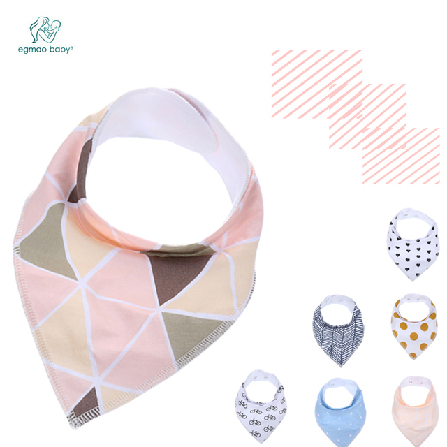 4pcs/ Pack bavoiToddler Infant Baby Bib 100% Cotton Absorbent Bandana Dribble Bib with Adjustable Snaps Saliva Towel Burp Cloth