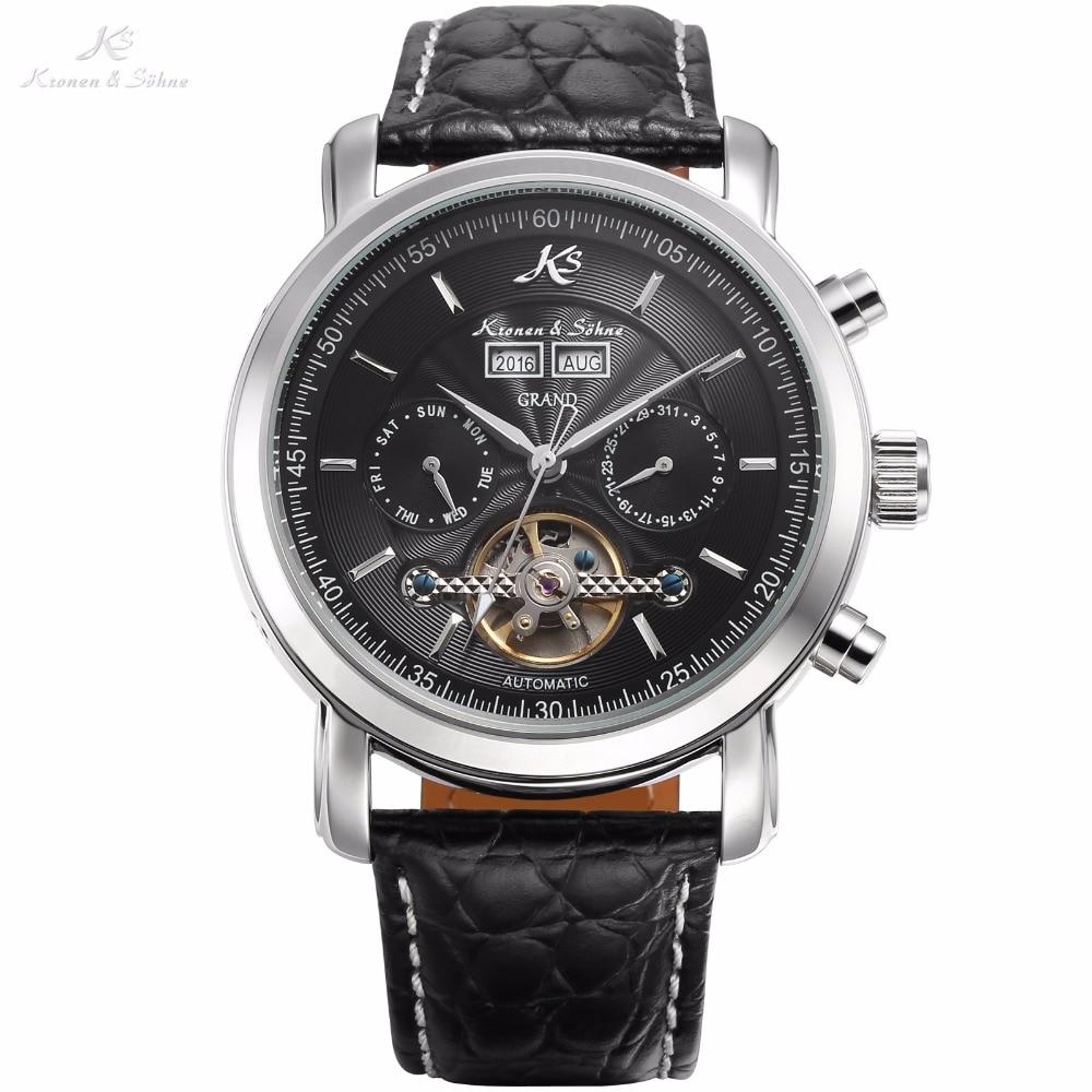 Kronen Sohne Grand Series Automatic Mechanical Wrist Watch Black Date Stainless Steel Men Leather Strap Wrist Watch/KS367 все цены