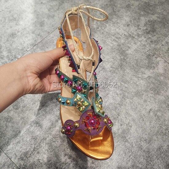 Sandales Chaussures Cuir De Hauts D'été Talons Lacent Multicolore Dames Bottes As Rivet Qianruiti Marque Luxe Découpes Pic En Clouté q7wIIz