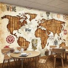 Винтажная настенная бумага с 3d изображением карты мира и винной