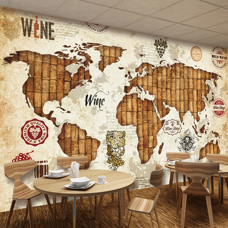 Vintage World Map Wine Stopper 3D Stereo Relief Mural Wallpaper Restaurant Bar KTV Living Room TV Backdrop Wall Decor Wall Paper