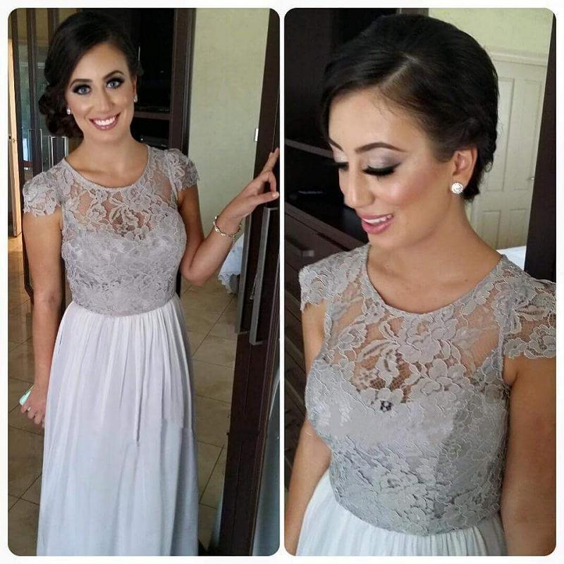 Vestidos De Dama De Honor Mujer Silver Grey Lace   Bridesmaid     Dresses   Floor Length 2019 Sheer Formal Maid Of Honor   Dress