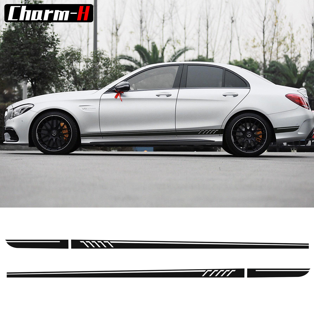 507 Side Stripes Decals C63 AMG Edition for Mercedes Benz W204 C Class Stickers-5D Carbon Fibre/Black/Yellow/White/Silvergrey car styling auto amg sport performance edition side stripe skirt sticker for mercedes benz g63 w463 g65 vinyl decals accessories