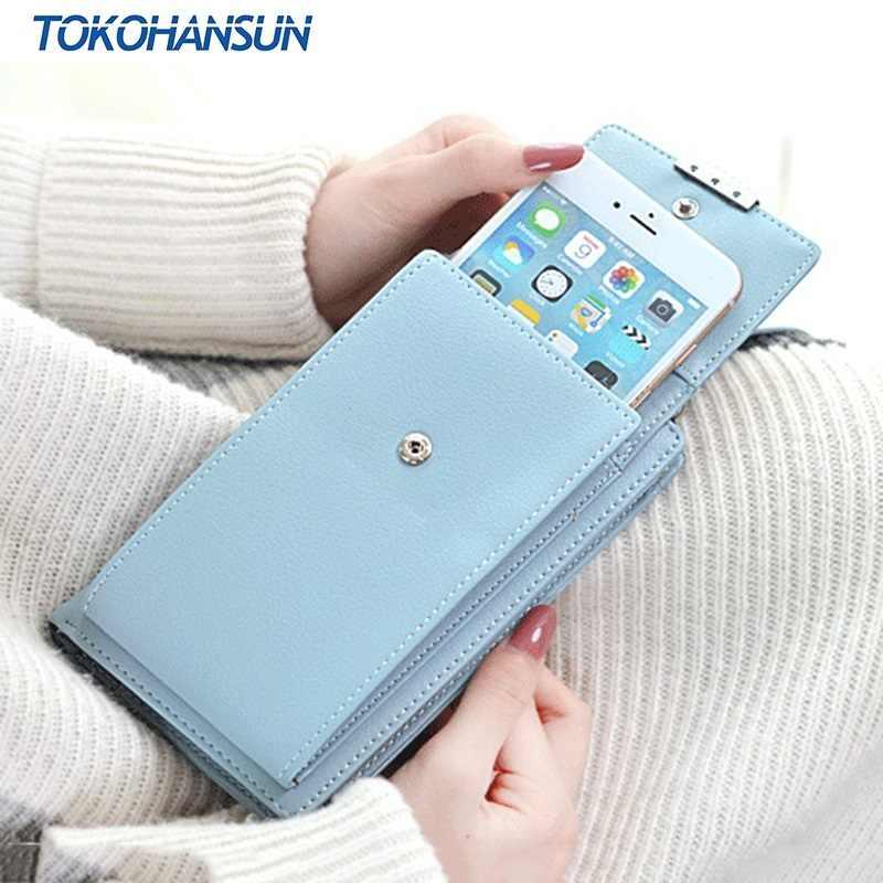 TOKOHANSUN PU bolso de cuero de la tarjeta de las mujeres del bolso de la cubierta del teléfono con la cadena para el borde de Bluboo Dual S3 S1