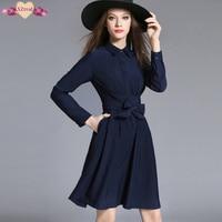 Elegant Bodycon Bandage Shirt Dress Autumn Women Casual Tunic Dresses Long Sleeve Fashion High End Blue