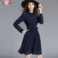 Elegant Bodycon Bandage Shirt Dress Autumn Women Casual Tunic Dresses Long Sleeve Fashion High End Blue