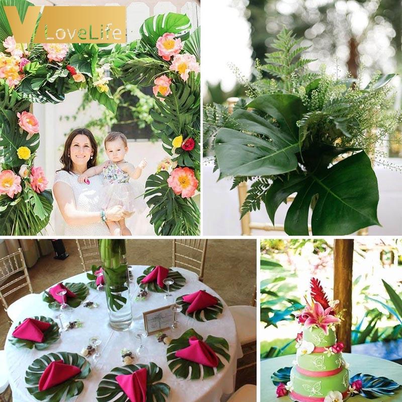 12pcs Artificial Leaf Tropical Palm Leaves Simulation Leaf for Wedding Hawaiian Luau Theme Party Decor Home garden 18cm x 20cm