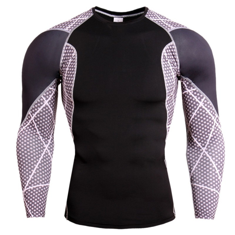 Men Fitness Compression T-shirt Baselayer Long Sleeve Muscle Bodybuilding Plain Quick-Drying Clothes Sport Cross Running Shirts