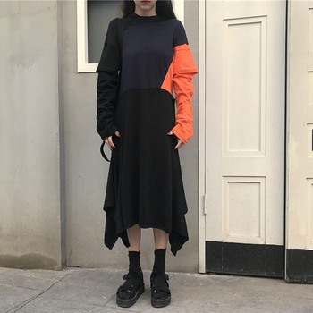 Women Long Sleeve Black Gothic Black Dress Patchwork Loose Clothes Dark
