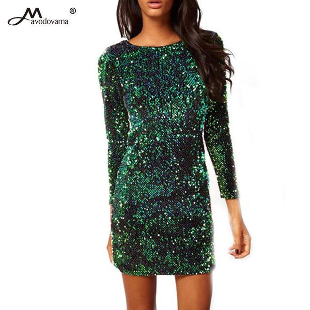 Avodovama M Fashion Women s Short Tight Halter Sequins Package Hip Long  Sleeve Dresss Pencil Dresses Sexy Club Wear 36465c682777