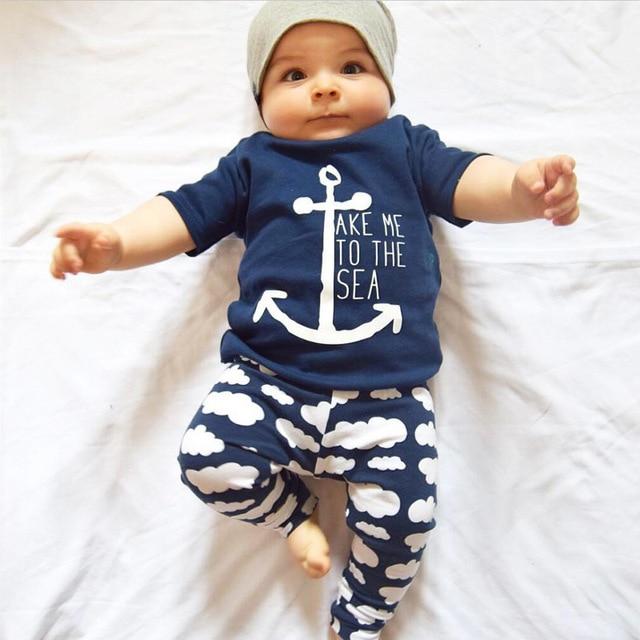 Babykleding Zomer.2 Stks Set Babykleding Sets 2017 Zomer Baby Jongens Sailor Anker
