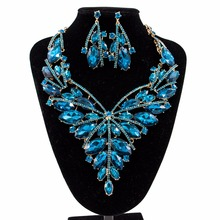 Luxury Crystal Jewelry Sets Nigerian Wedding African Beads Necklace Earring Bridal Gold Color Women Costume Accessories