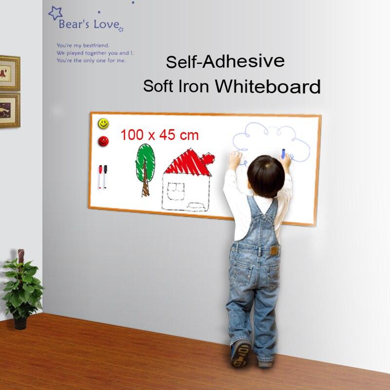 Magnético tablero de escritura auto-adhesivo pizarra suave de pared de hierro etiqueta Flexible borrable tablero de dibujo 100x45 cm