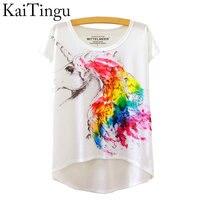 KaiTingu 2016 Brand New Fashion Summer Asymmetric High Low Style Harajuku Travel Print Shirt Short Sleeve T Shirt Women Tops