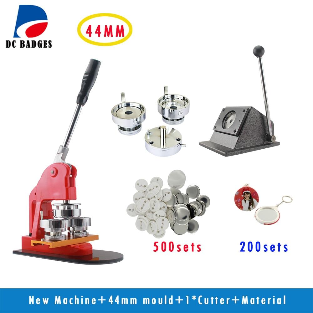 Metal Button Machine 1-3/4 44mm  set +Metal Paper Cutter+500Sets Pinback +200sets mirror keychain 4 200 4 200 500