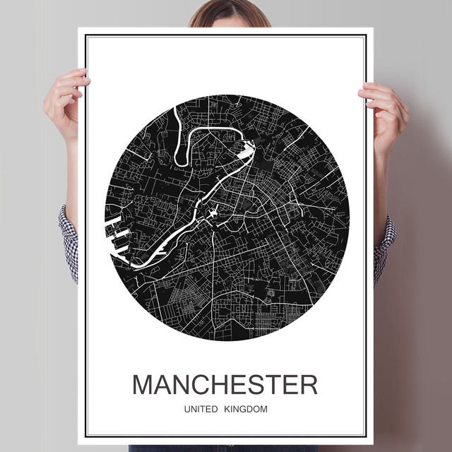 World city map manchester oil painting modern poster canvas coated paper abstract print picture cafe bar