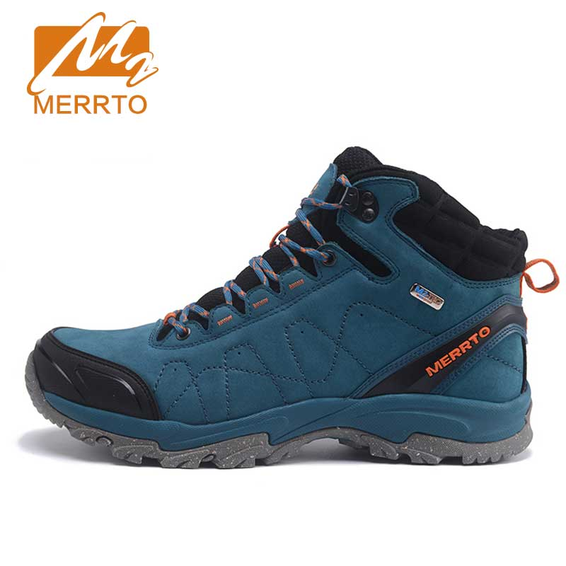 ФОТО MERRTO Skidproof Men Hiking Shoes Outdoor Cowhide  Waterproof Breathable Sports Extra Warm With Inner Fleece  Sneakers#C