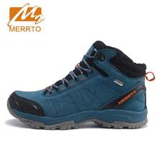 MERRTO Skidproof Men Hiking Shoes Outdoor Cowhide Waterproof Breathable Sports Extra Warm With Inner Fleece Sneakers#C
