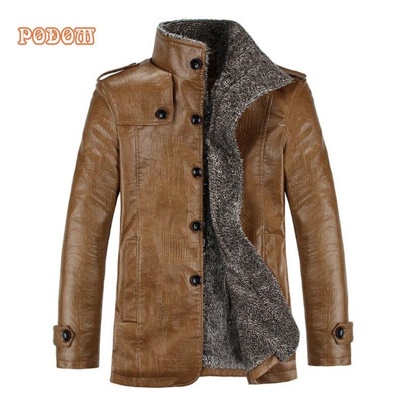 Ретро куртка из искусственной кожи Для мужчин зимние теплое толстое пальто Для мужчин ветрозащитная верхняя одежда Повседневное тонкий вв...