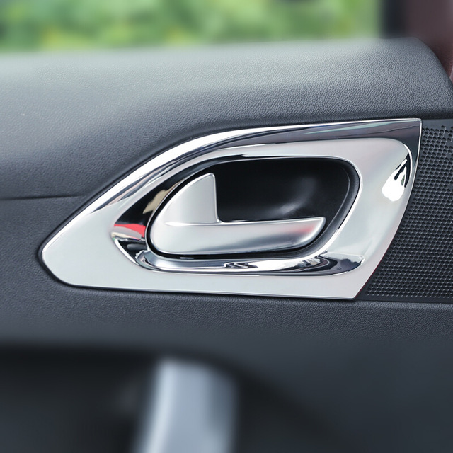 ABS Chrome Car Styling For 2014 2015 2016 2017 Peugeot 2008 Accessories inner door Bowl protector frame Panel Cover Trim
