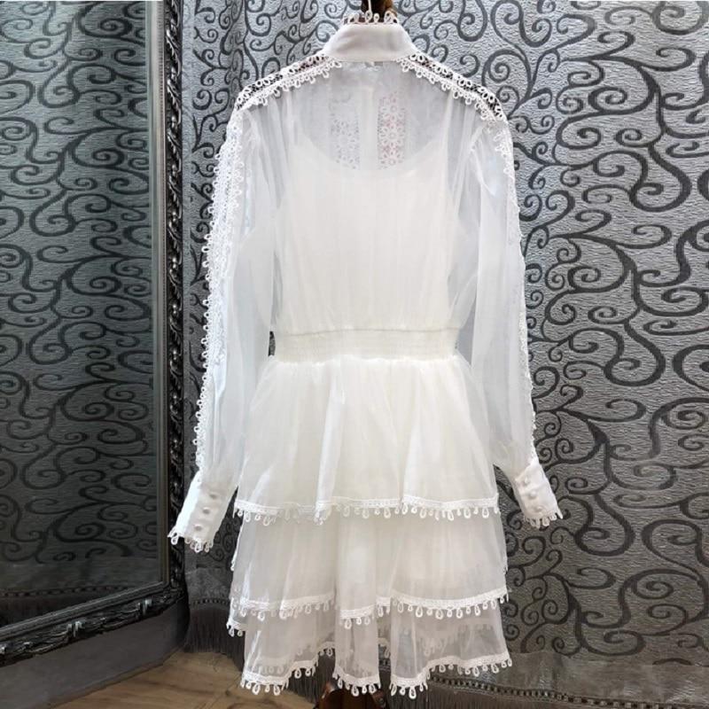 Mode Lady Dentelle À Longues white Appliques Grade Femmes Printemps Patchwork Designer Haut Black Robe 2019 Manches Blanc Noir Princesse 4InaS