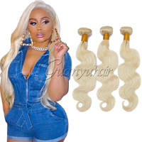 Guanyuhair Brazilian Blonde Body Wave 613 Remy Hair Extension 100% Human Hair Weave 10 28 Inch 1/3/4 Platinum Blonde Hair Bundle
