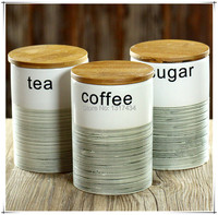 three piece ceramic canister set with bamboo cover sealed cans tea/coffee/sugar jar home storage bottles kitchen supplies