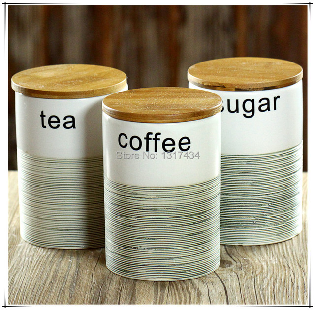 Charmant Three Piece Ceramic Canister Set With Bamboo Cover Sealed Cans  Tea/coffee/sugar