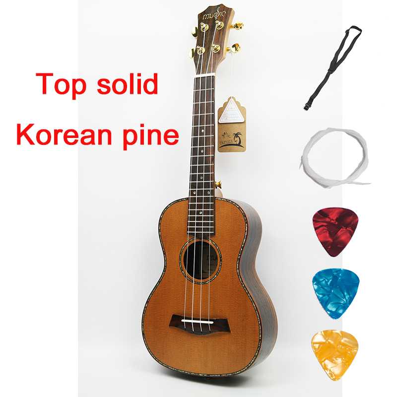 Ukulele Solid Top 23 26 Inch Korean Pine Mini Guitar Acoustic Electric Concert Tenor 4 Strings Ukelele Guitarra soprano concert acoustic electric ukulele 21 23 inch guitar 4 strings ukelele guitarra handcraft guitarist mahogany plug in uke