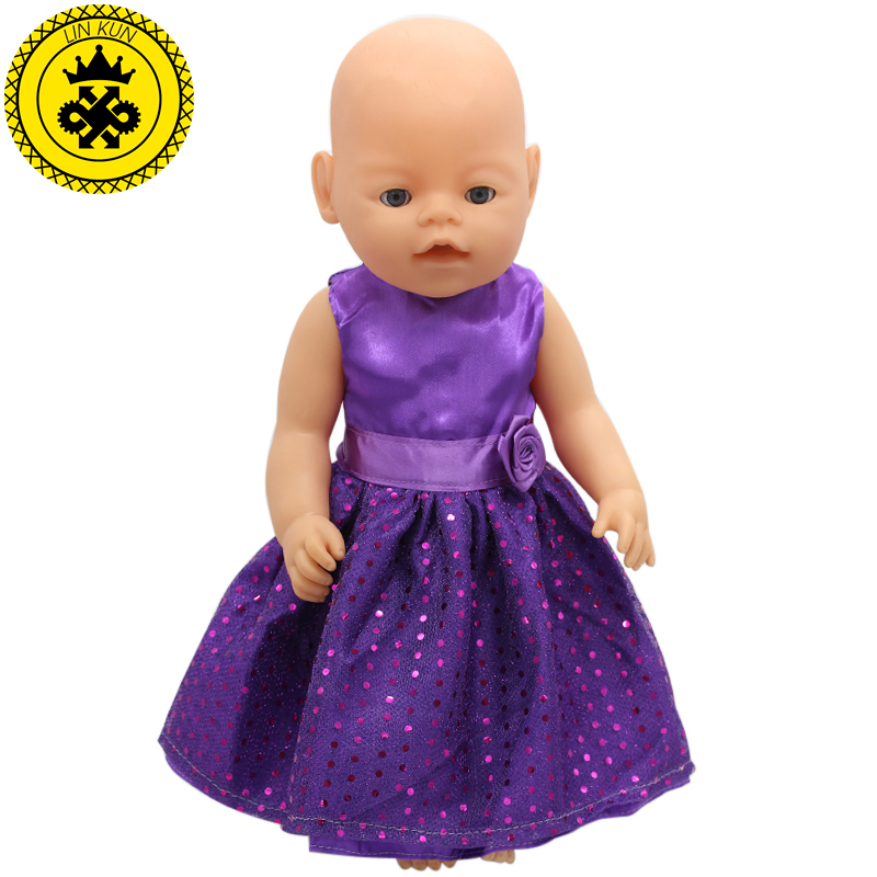 Purple Baby Born Doll Dress Clothes fit 43cm Baby Born Zapf or 17inch Doll Accessories Handmade Fashion Party Skirt 015 baby born doll clothes bat patch skirt dress fit 43cm baby born zapf or 17inch baby born doll accessories high quality love 183