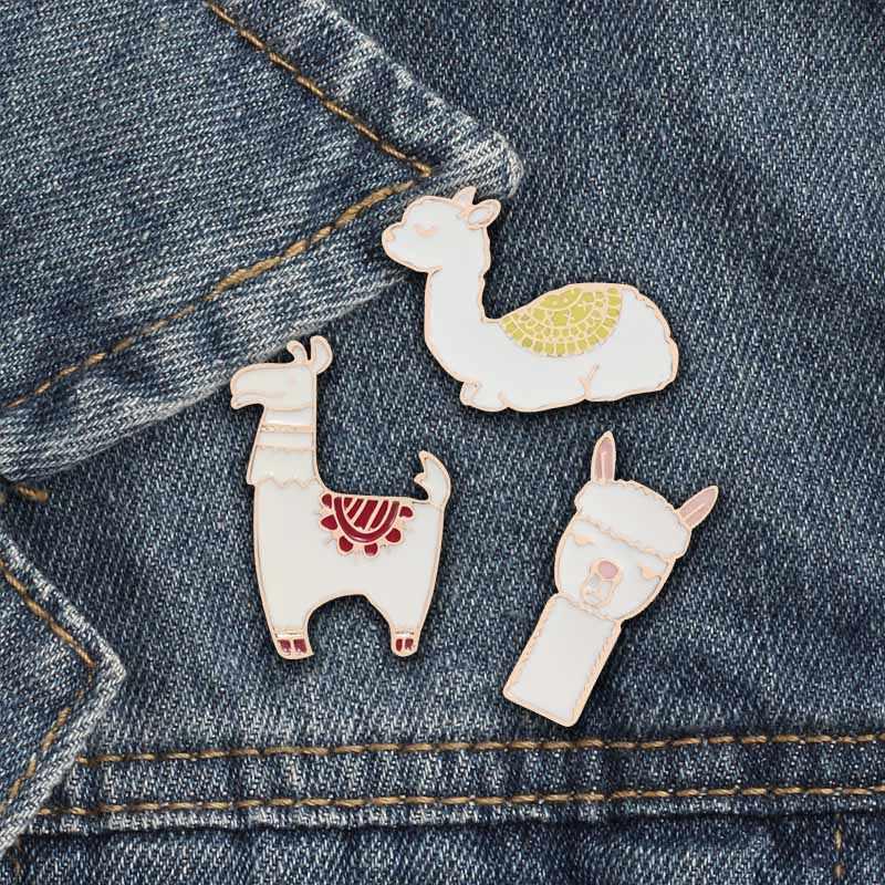 3 шт./компл. модные милые животные Брошь шпильки Альпака Кошка Лошадь Радуга для женщин броши Matel рубашка с лацканами бижутерия специальные подарки