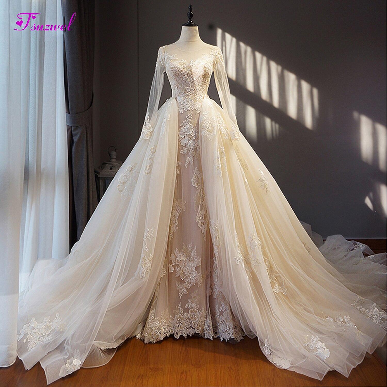 Fsuzwel Sexy Scoop Neck Lace Up Detachable Train Wedding Dress 2019 Appliques Long Sleeve Vintage Wedding