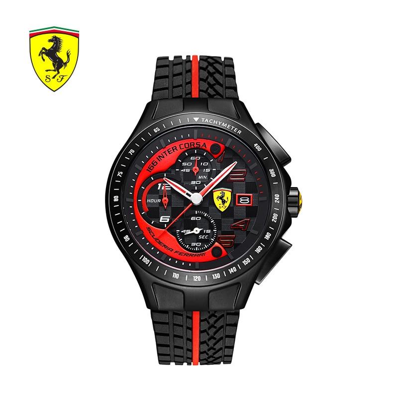SCUDERIA FERRARI брендов Для мужчин часы Спорт Мода Повседневное открытый часы тенденция Водонепроницаемый кварцевые часы Erkek Saatler 0830077